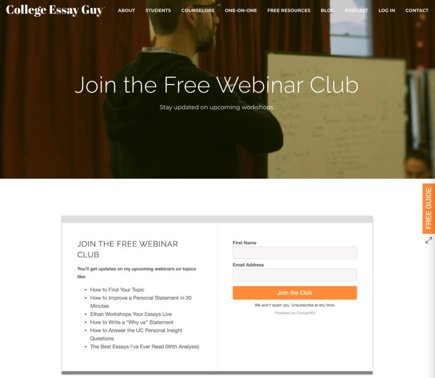 Use free webinars to build your list.