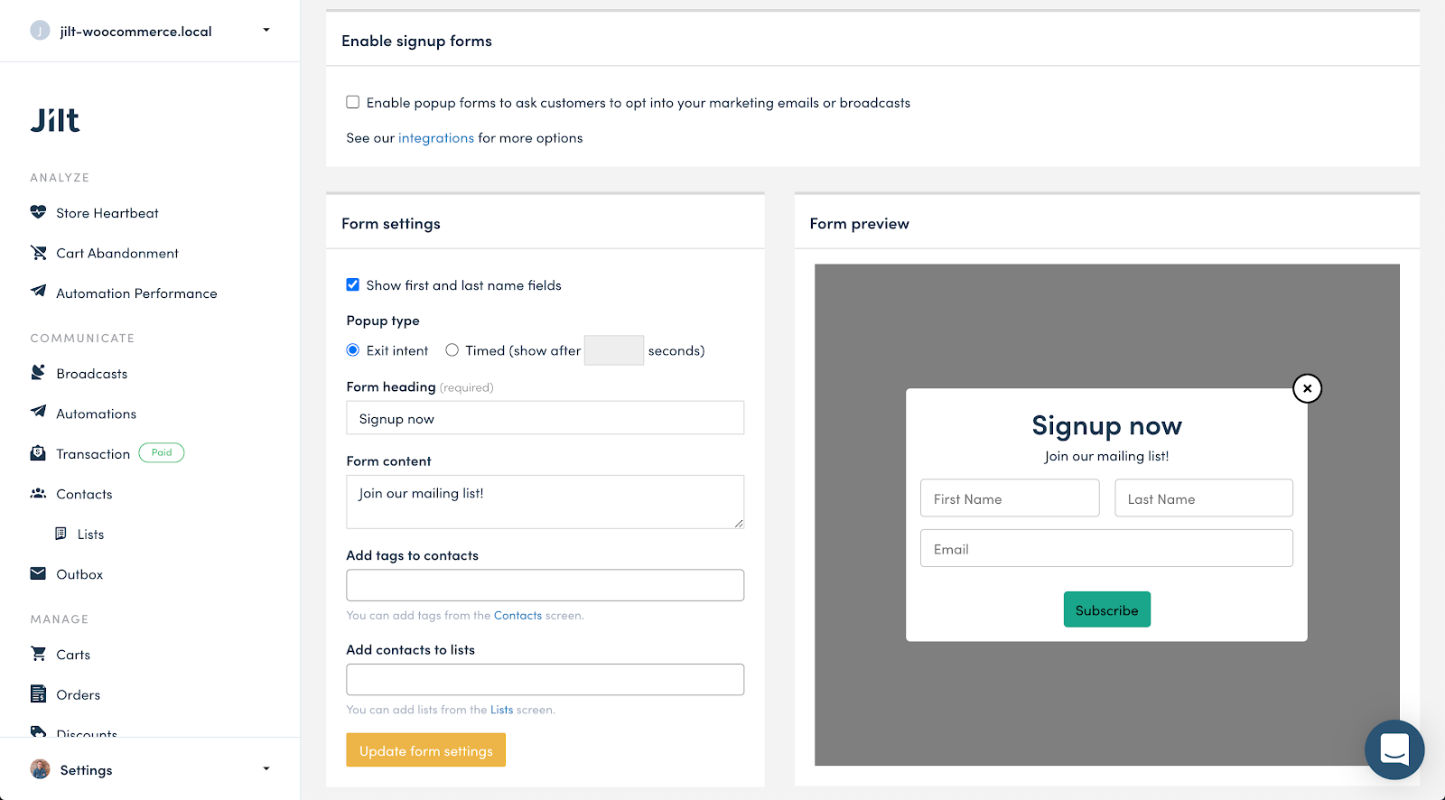 Jilt's signup form feature.