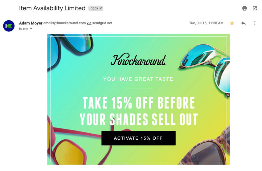 The third email in a cart abandonment series.