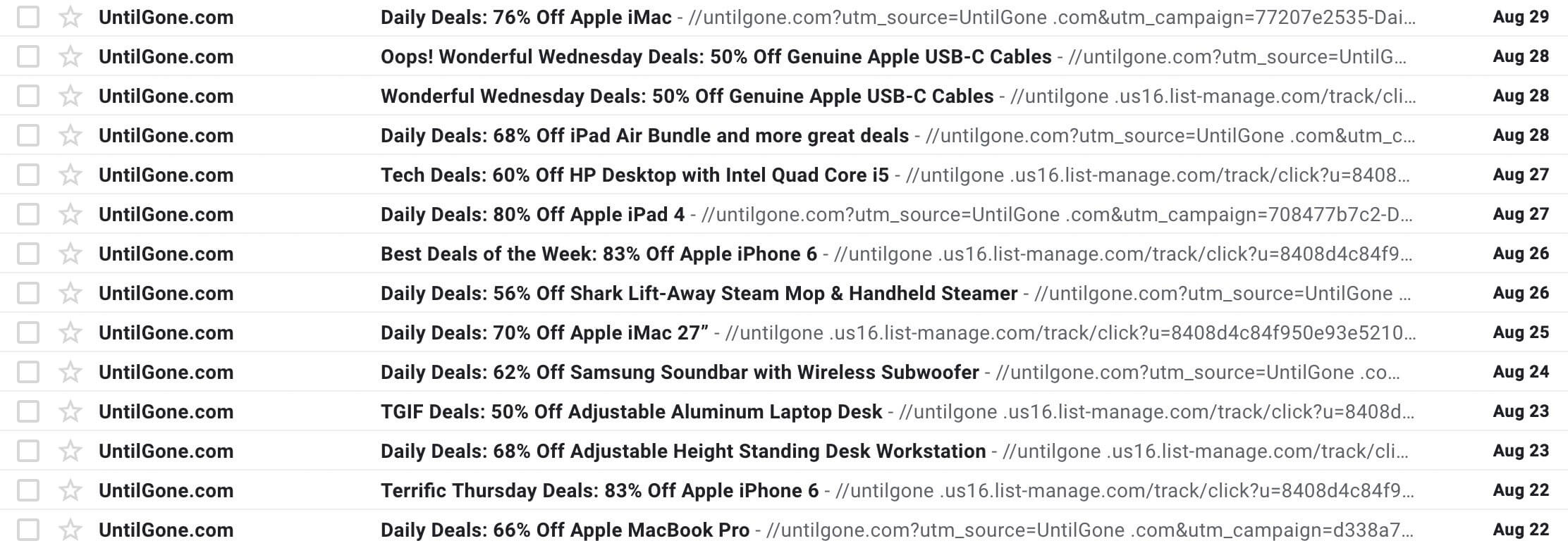 Frequent emails in an inbox.