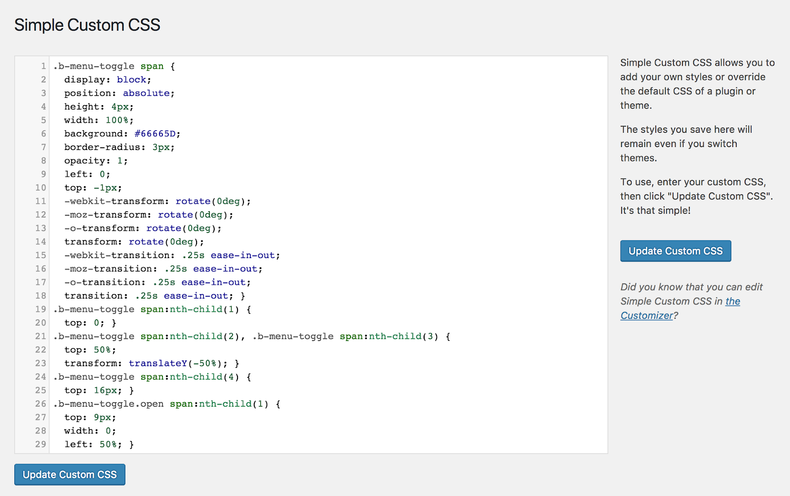 Pasting custom CSS in WordPress.