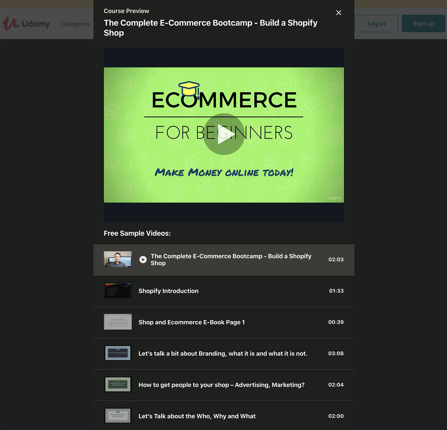 Udemy's eCommerce video courses.