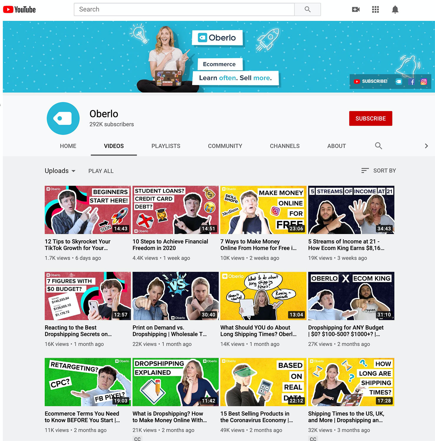 Oberlo's eCommerce YouTube channel.