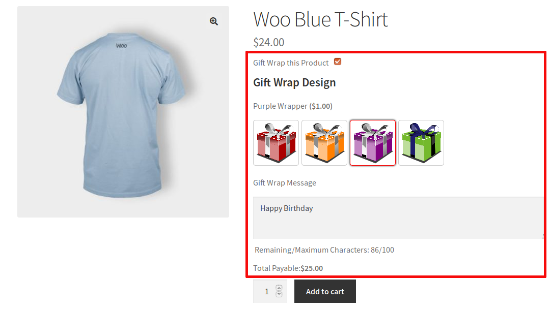 Gift wrapping options on WooCommerce.