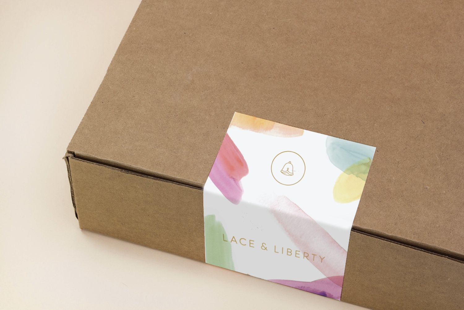 A sticker dresses up a plain brown box.