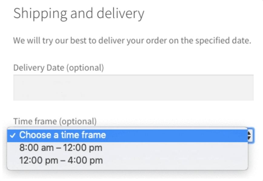 Order Delivery plugin selector.