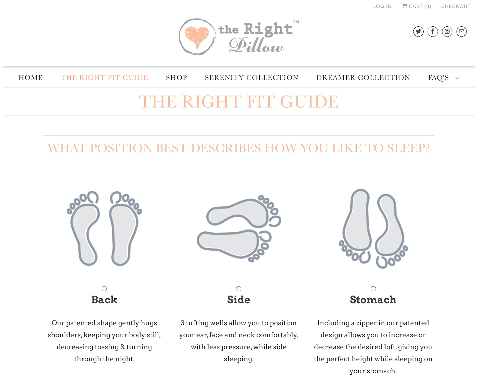 An interactive quiz for the Right Pillow.