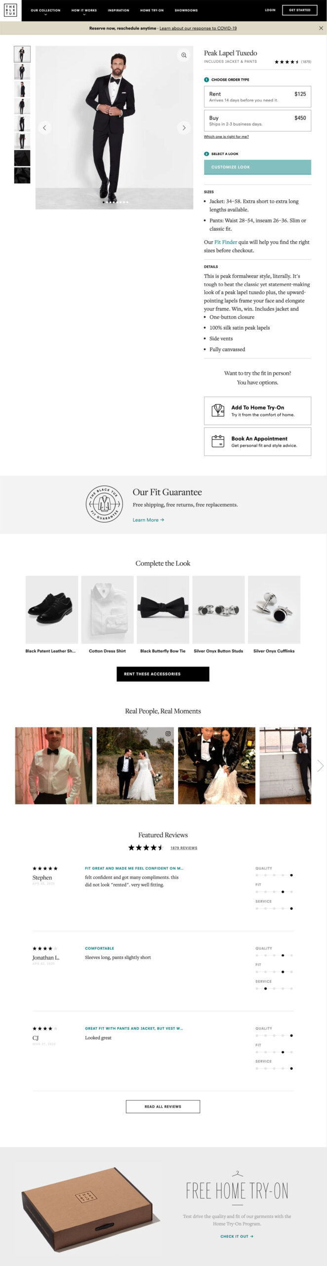 The product page on The Black Tux.