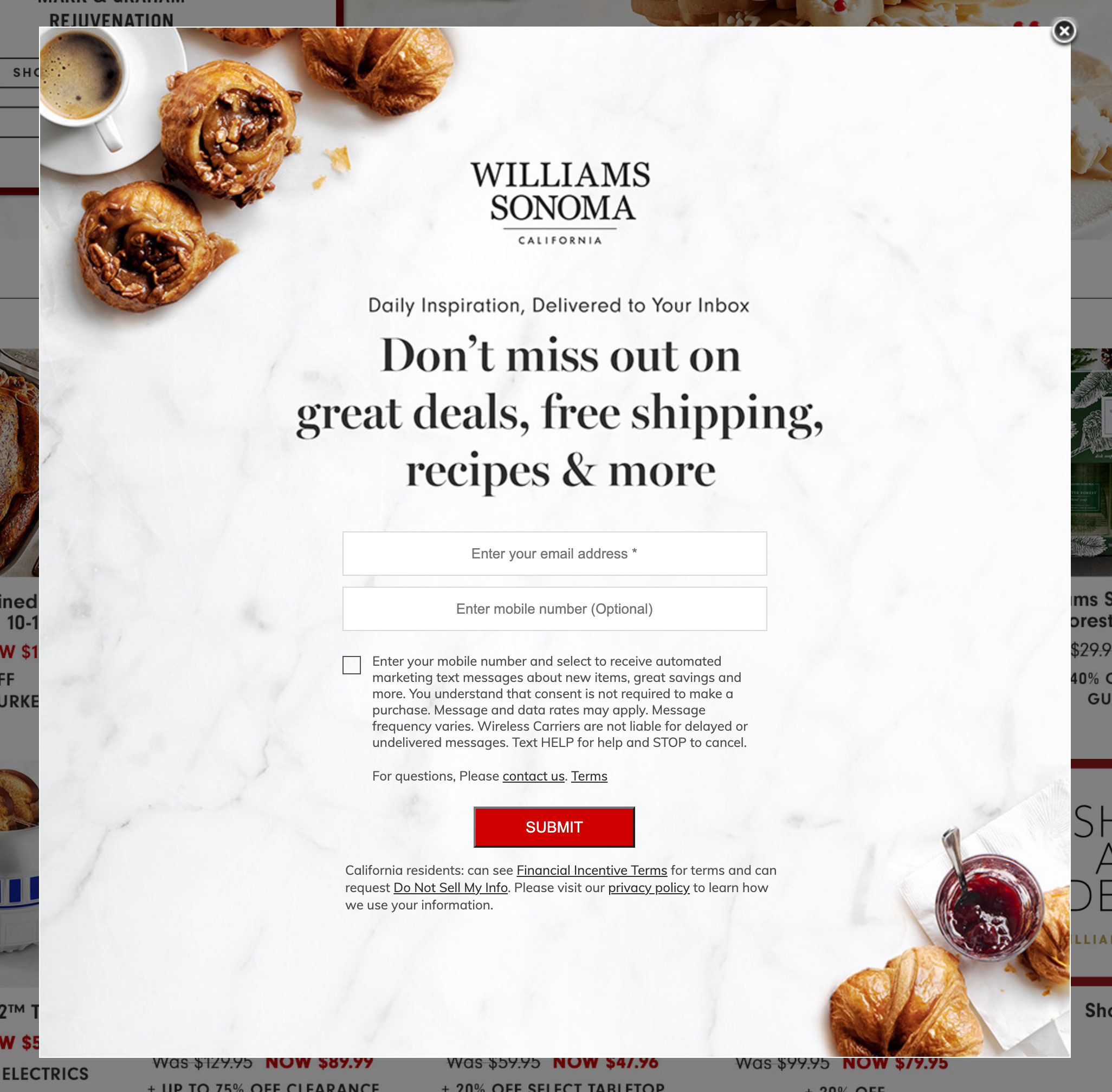 Williams Sonoma's email collection pop up.